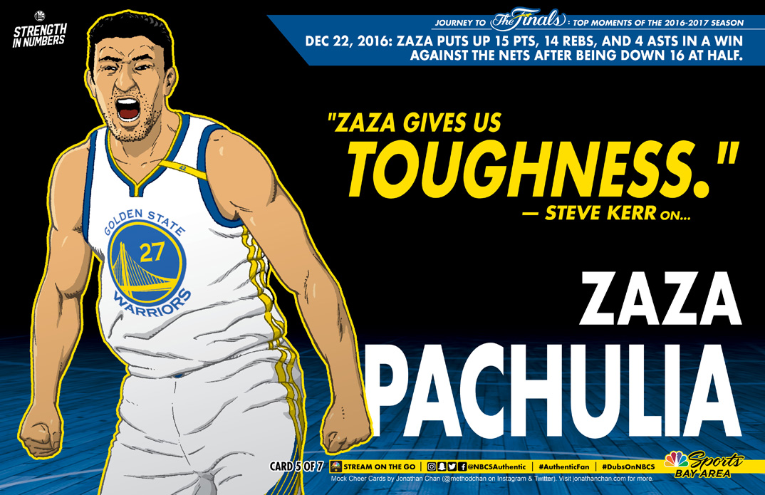 Custom Warriors Cheer Card: Zaza Pachulia